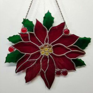 Stained Glass Sun Catcher Poinsettia Christmas